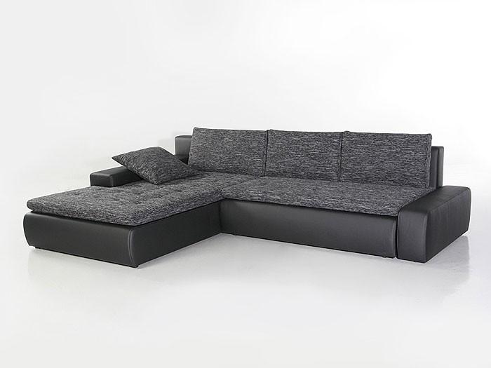 Ecksofa grau schwarz  Ecksofa Alisa 300x210cm Webstoff schwarz-grau Kunstleder schwarz ...